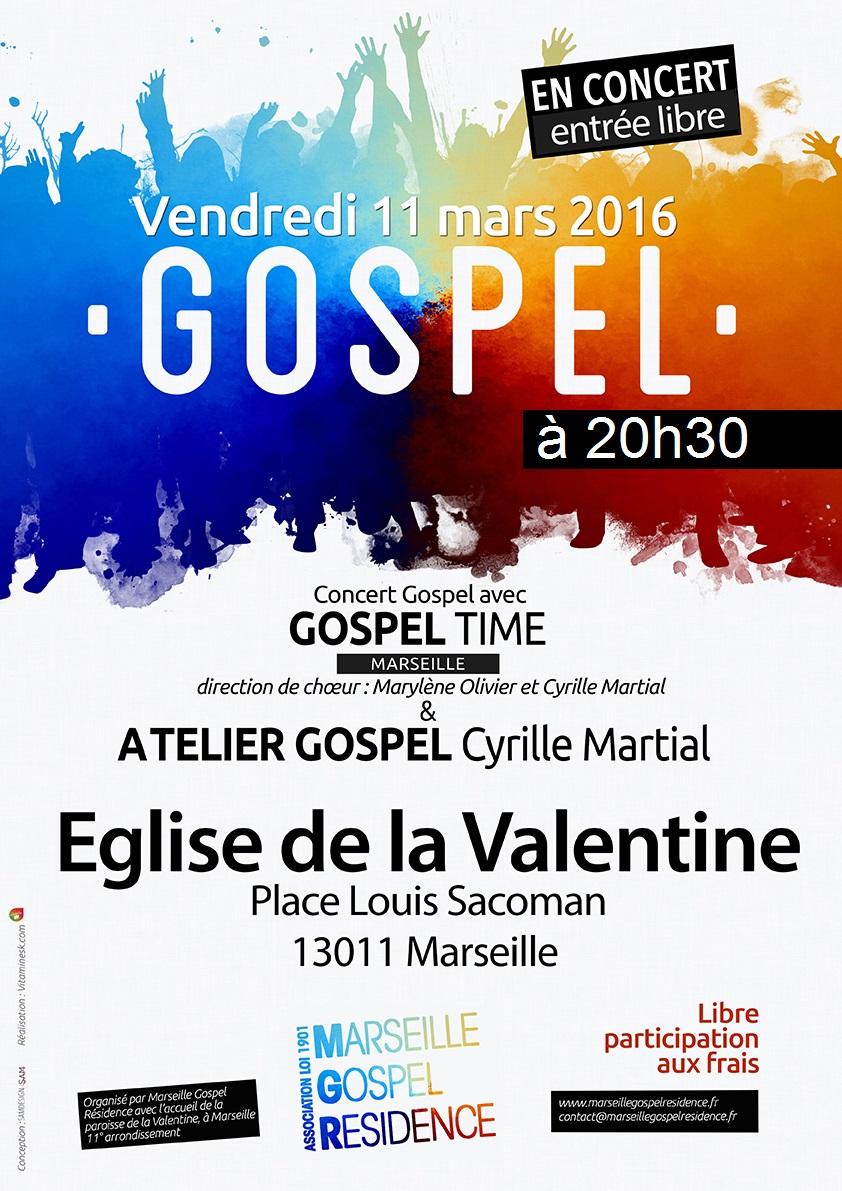 concert gospel vendredi 11 03 2016 la valentine. Black Bedroom Furniture Sets. Home Design Ideas